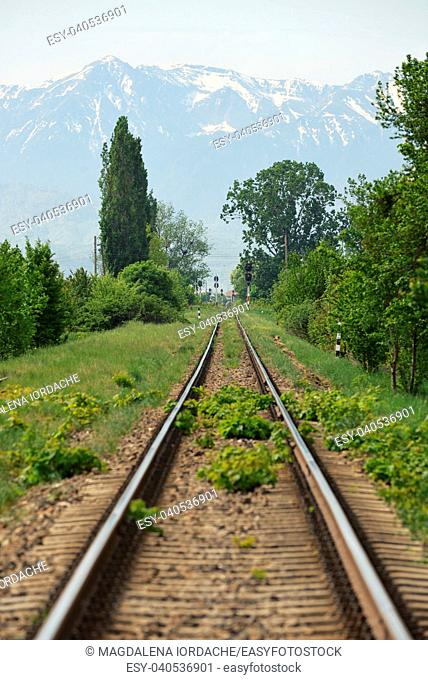 Straight railway and mountain in Brasov, Romania