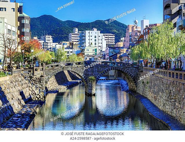 Japan,Kyushu , Nagasaki City, Megane Bashi (spectacles bridge)