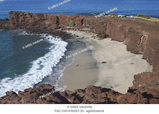 Hawaii, Lanai, Sweetheart Beach viewed from above