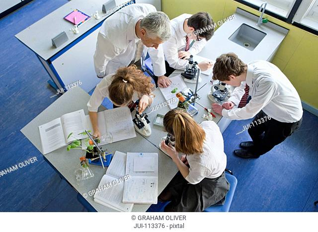 Teacher teaching high school students at microscopes conducting scientific experiment in biology class
