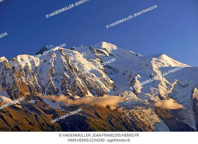 France, Haute Savoie, Chamonix, Mont Blanc (4810m) at sunset, Mont Blanc range