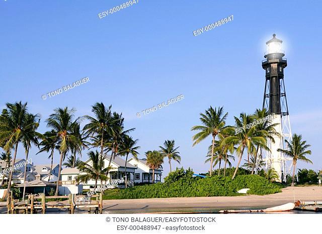 Florida Pompano Beach Lighthouse palm trees and blue sky