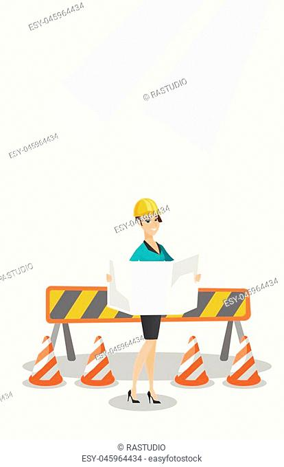 Young caucasian engineer watching blueprint at construction site. Female engineer with engineer blueprint standing on the background of road barriers