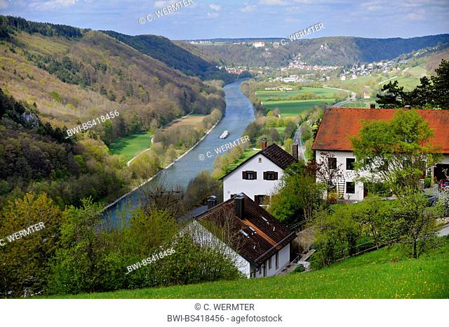 casttle Prunn, view from the castle onto the Main-Danube Canal and Riedenburg, Germany, Bavaria, Franken, Franconia, Riedenburg