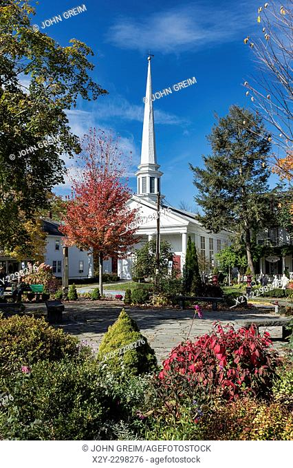 Town square and church, Woodstock, New York, USA