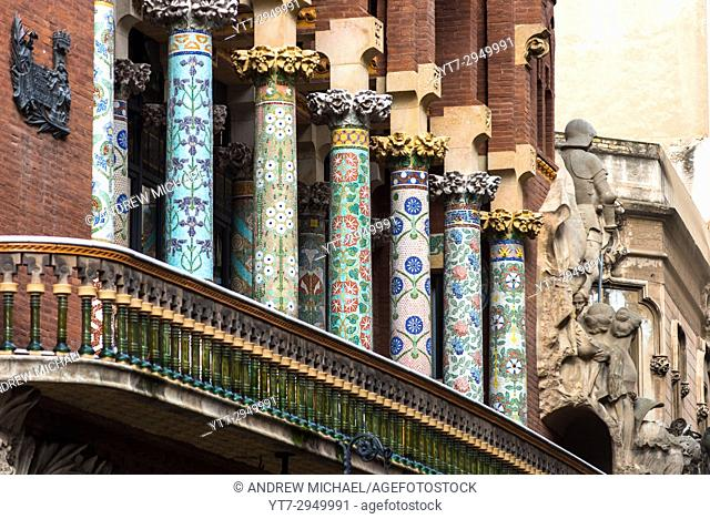 Barcelona in Catalonia, Spain. Palace of Catalan Music (Palau de la Musica Catalana) outdoor detail