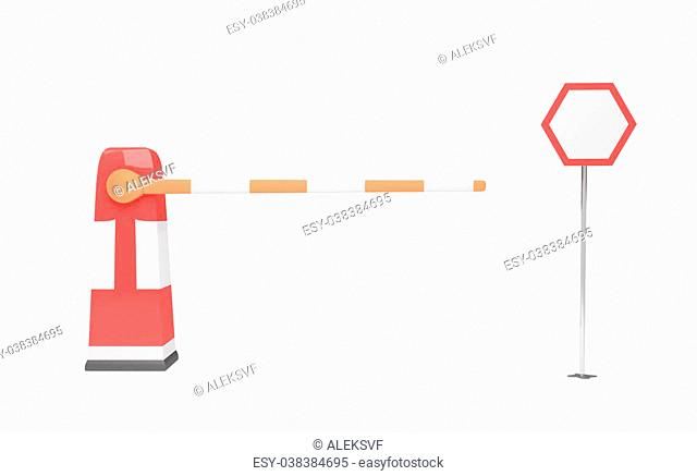 barrier and traffic sign over white background. 3d rendered image