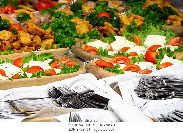 Catering food at a party. In Lithuania