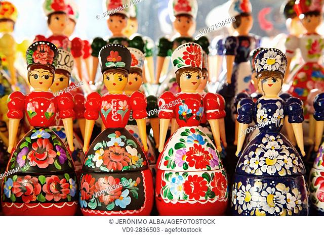 Dolls in folkloric and traditional dresses at a souvenir shop. Central Market Nagycsarnok. Budapest Hungary, Southeast Europe