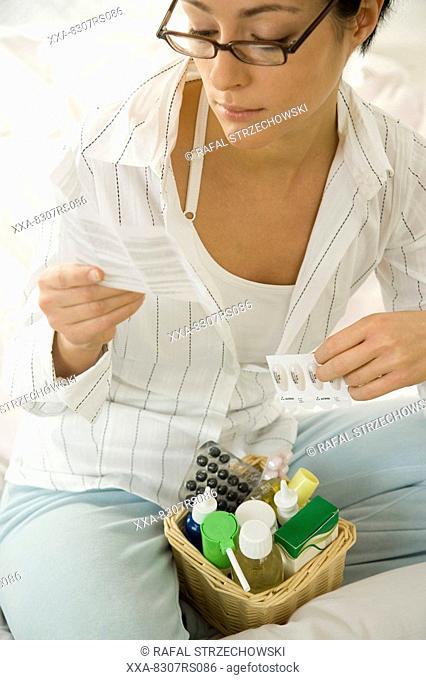 Woman reading instuction