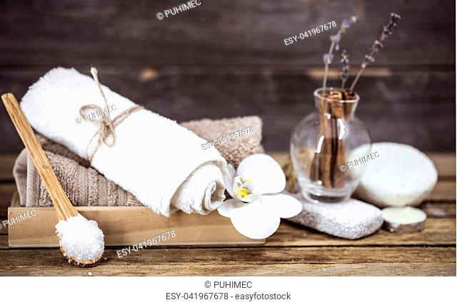 spa still life on a wooden background, the concept of relaxation and massage