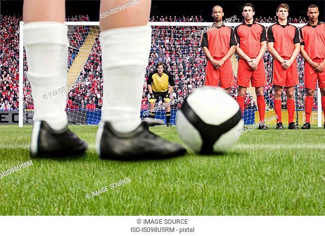 Free kick during a football match
