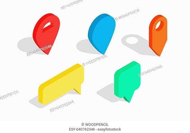Set of isometric map pointers. Multicolor map pin icons. Collection of Map marker. Vector illustration