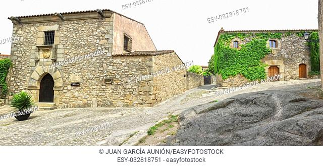 Street with Francisco Pizarro Family House in Trujillo, Spain. conquistador who led an expedition that conquered the Inca Empire