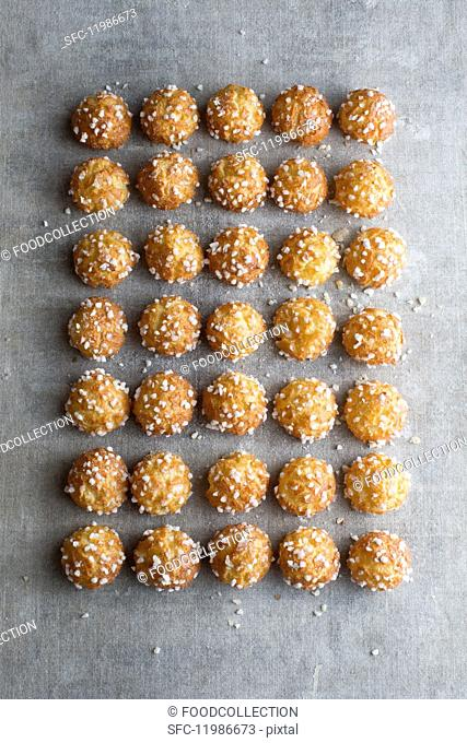 Chouquettes (unfilled profiteroles sprinkled with sugar nibs, France)