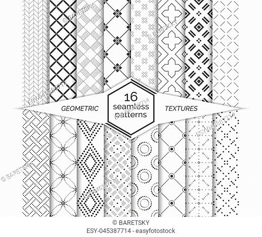 Big set of vector seamless patterns. Modern stylish geometric textures. Regularly repeating geometrical backgrounds with different shapes