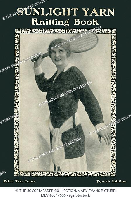 Front cover of a Sunlight Yarn Knitting book featuring a young woman in a fine knitted jumper readying herself to take a smash during a tennis match