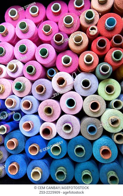 Colorful spools at the shop in town center, Kas, Antalya Region, Turkish Riviera, Turkey, Europe