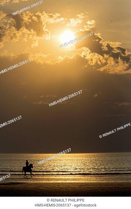 France, Calvados, Deauville, the beach, sunset, horseback rider