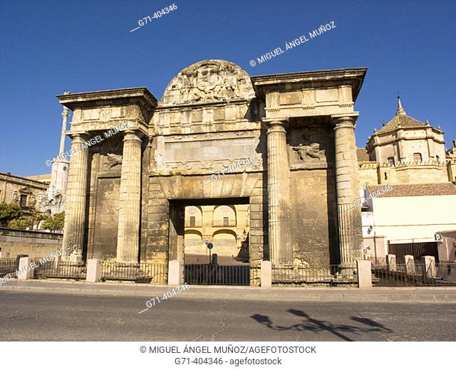 Triumph Arch (built in 16 th century by order of Philip II, over the original roman ruins). Historic Center of Cordoba (Added to the Unesco's World Heritage...
