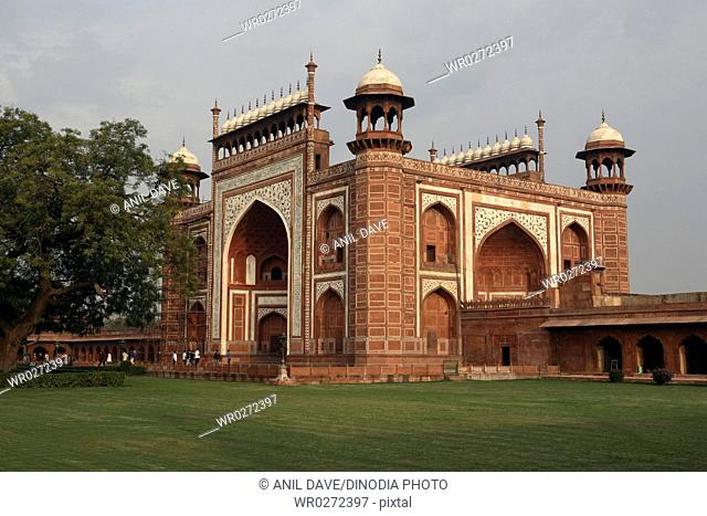 Picture Post Card , Gate of the Taj mahal , Agra , Uttar Pradesh , India