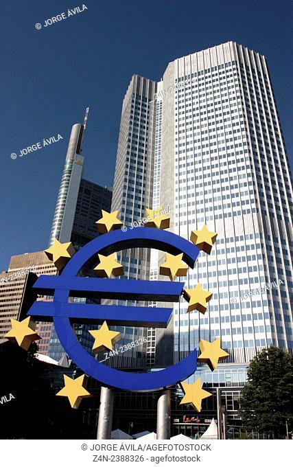 Euro logo, Frankfurt, Germany