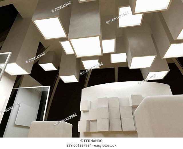 Art gallery with blank frames, modern building, conceptual archi