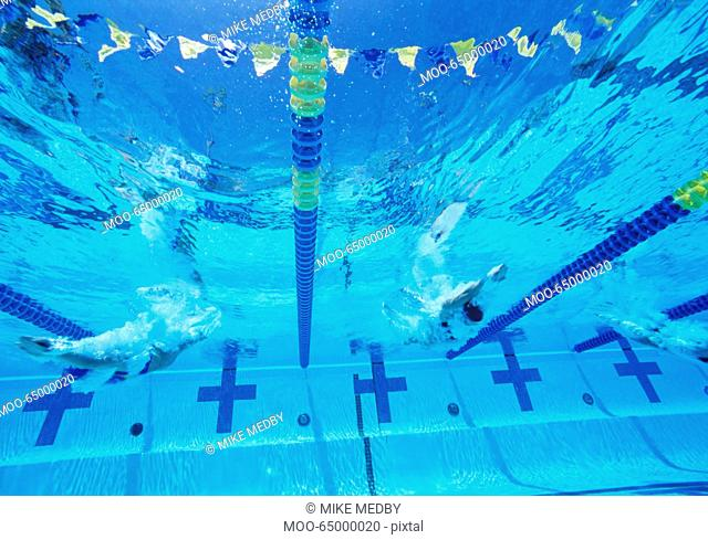 Underwater view of professional participants racing in pool