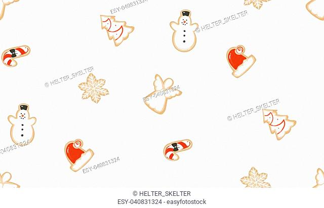 Hand drawn vector abstract fun Merry Christmas time cartoon illustrations seamless pattern with baked gingerbreads cookies isolated on white background