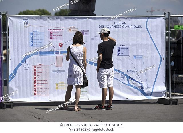 The Olympics days in Paris, France. During two days, 23th and 24 th june 2017, the centre of Paris is being transformed into a mini-Olympic village