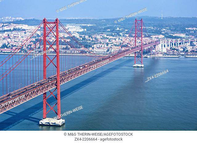 Ponte 25 de Abril (25th of April Bridge) over the Tagus river, Lisbon, Portugal, Europe