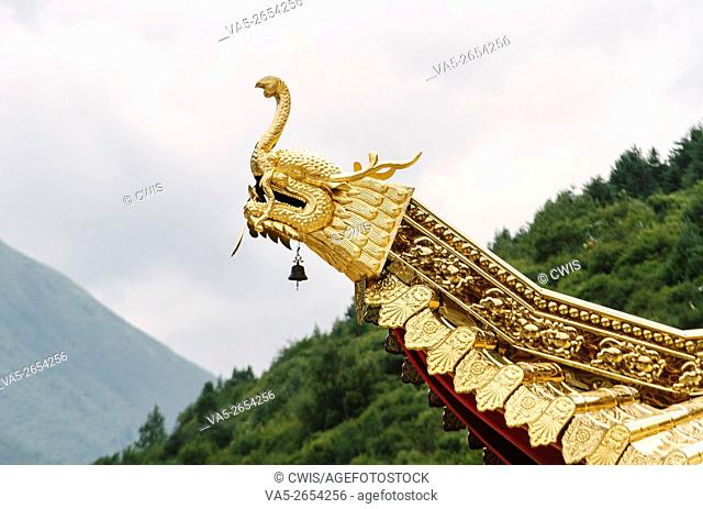 Kangding, Sichuan province, China - Close up of the golden eave of Namo monastery, a famous Tibetan Buddhism Temple in the daytime