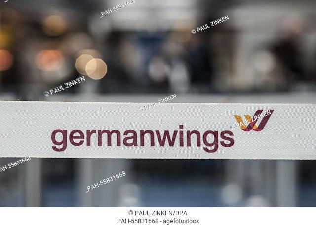 The sign displays the logo of carrier Germanwings at Tegel airport in Berlin, Germany, 13 February 2015. Numerous flights of German carrier Germanwings were...