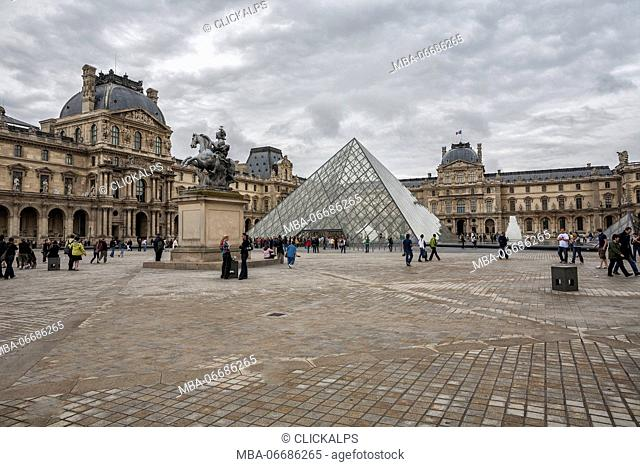 The Louvre Palace and Museum with its Pyramid Paris France Europe