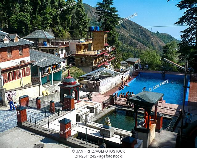 view at houses and swimming pool in dharamsala, india