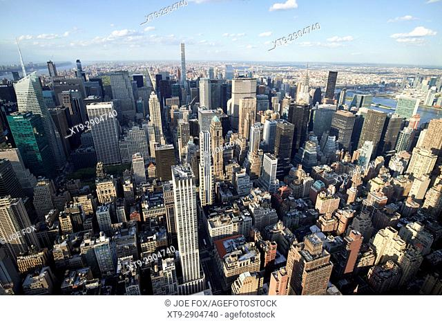 aerial view of midtown north central manhattan and turtle bay districts viewed from empire state building observatory New York City USA