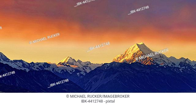 The snowy peak of Mount Cook, Aoraki at sunset, Mount Cook National Park, New Zealand Alps, South Island, New Zealand