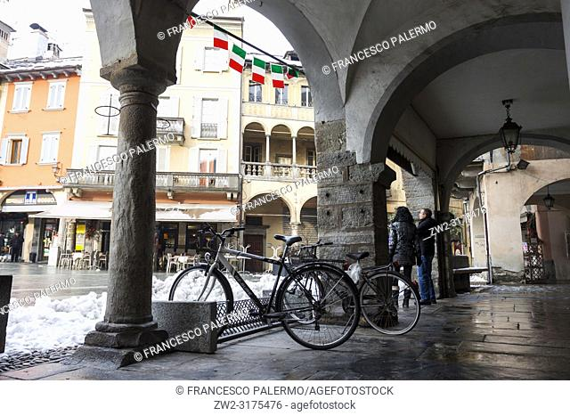 Market square under a blanket of snow. Domodossola, Piedmont. Italy