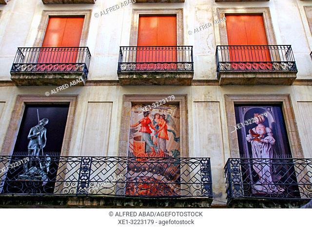 decorated balconies, Museu Frederic Marès, Barcelona, Catalonia, Spain
