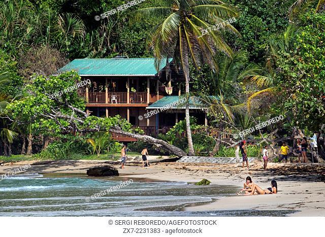 Tourists in Red Frog Beach. Bocas del Toro. Panama
