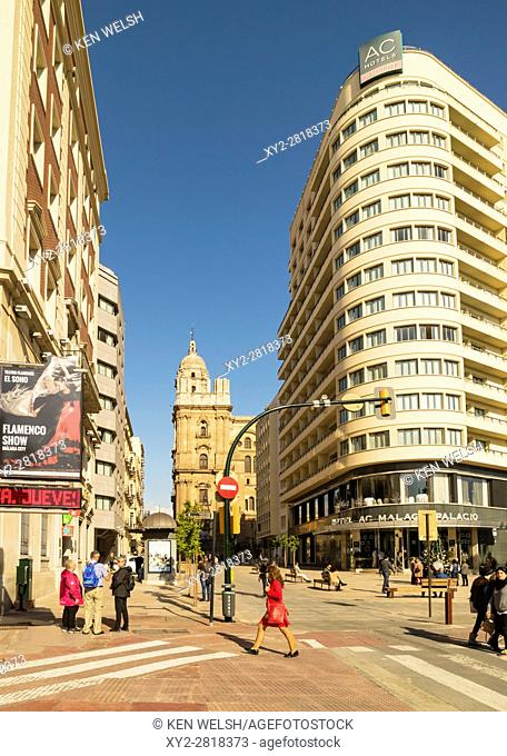 Malaga, Costa del Sol, Malaga Province, Andalusia, southern Spain. The four star Hotel Malaga Palacio on the corner of Calle Cortina de Muelle and Calle Molina...