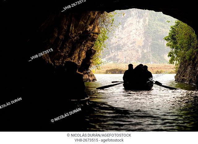 Boat tour in Tam Coc cave. Ninh Binh Province. Vietnam