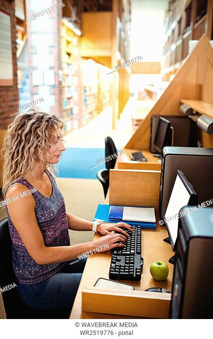 Beautiful woman working on computer