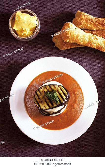 Tomato and aubergine soup with mozzarella and aubergine slices