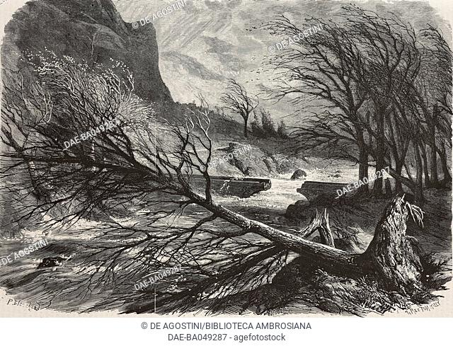 Destruction caused by strong winds in the Alps, fallen tree and broken bridge, December 11, 1872, France, illustration by P Blanchard and Smeeton Tilly from...