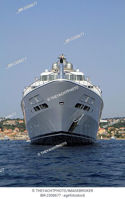 Rising Sun, a cruiser built by Luerssen Yachts, length: 138 meters, built in 2004, Cap Ferrat, French Riviera, France, Mediterranean Sea, Europe