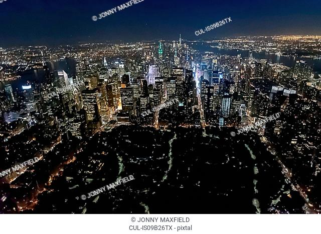 Aerial view from helicopter of Central Park, Empire State Building, New York, USA