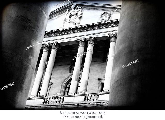 building of classical architecture in Bank, City of London, England, UK