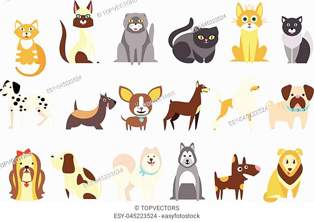 Cartoon collection of funny cats and dogs of different breeds. Domestic animals. Home pets. Human's best friends. Design for pet shop or vet clinic