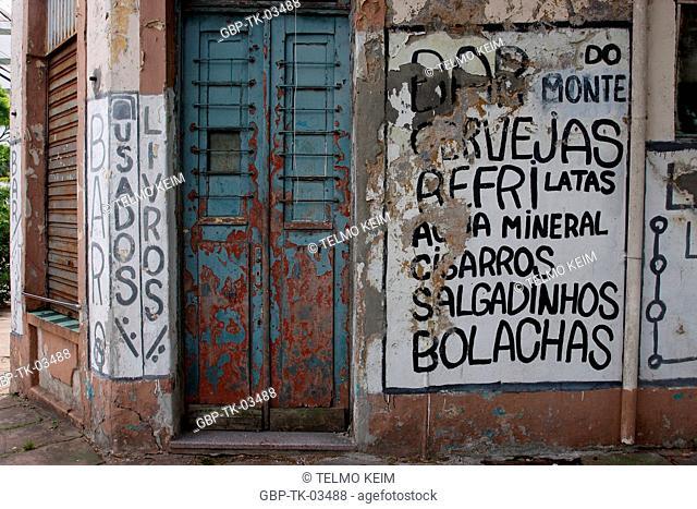 Bar, closed, abandoned, bookstore, worn books, Brazil